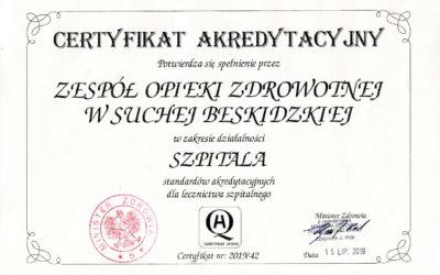 Akredytacja Ministerstwa Zdrowia dla ZOZ w Suchej Beskidzkiej
