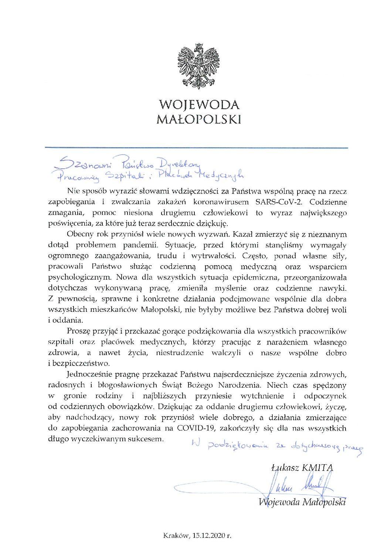 Podziękowania Wojewody Małopolskiego Pana Łukasza Kmity skierowane do wszystkich pracowników szpitali i placówek medycznych