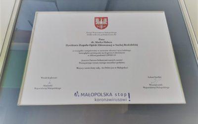 Podziękowania dla personelu naszego Zespołu od przedstawicieli Zarządu Województwa Małopolskiego